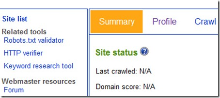 Webmaster tools user interface