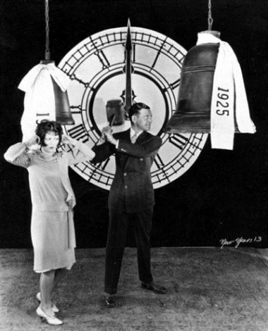 Clara Bow and Richard Dix ring in the new year 1925