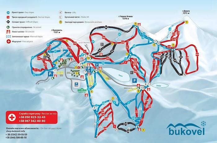 Схема трасс горнолыжного курорта Буковель