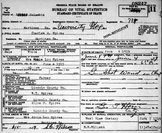 Spires, Charles death certificate 1919