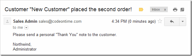 'Thank You' note reminder in the Gmail inbox of the sales person