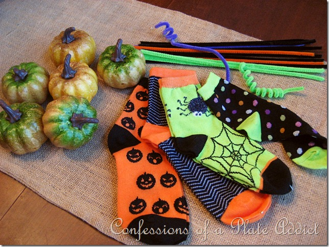 Supplies for Halloween sock pumpkins