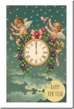 hn-00090-d~Happy-New-Year-Victorian-Angels-with-Clock-Posters