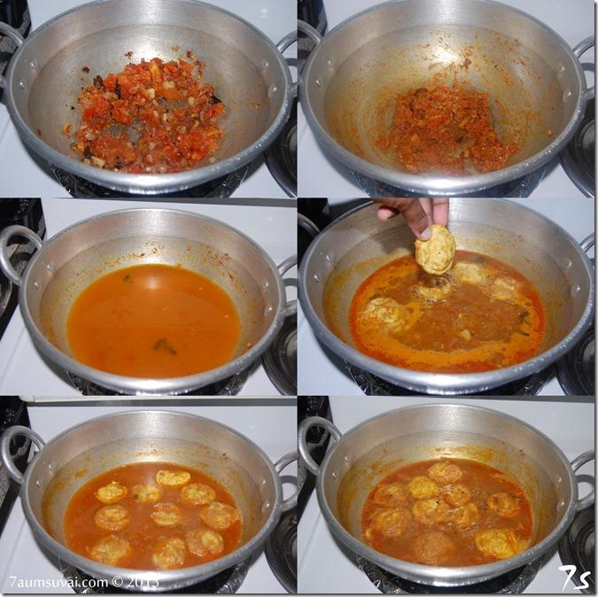 Omelette kuzhambu process