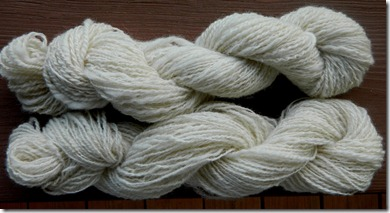 corriedale 2ply top: 100 yds 12wpi; botttom:120 yds 16wpi