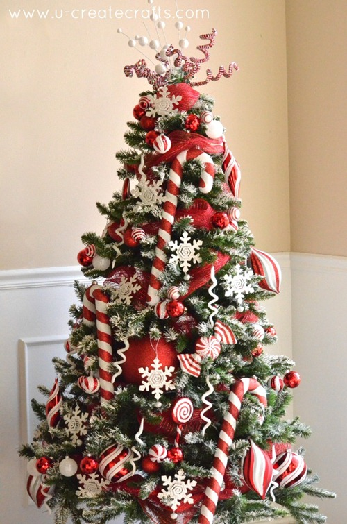 Peppermint and Snow Themed Christmas Tree