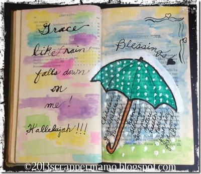 grace like rain blessings journal page w border and wm