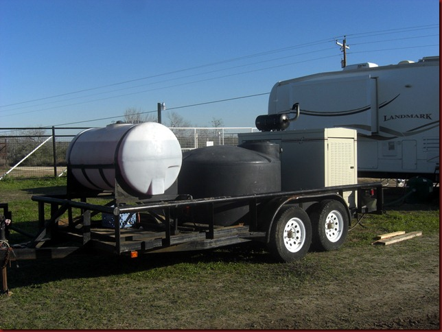Diesel fuel, 500 gallon of non-potable water and the 15,000 watt generator