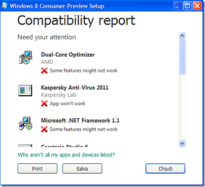 Report di compatibilità di Windows 8