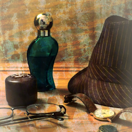 After Work by Robert Ball - Digital Art Things ( cologne, glasses, masculine, objects, man, fedora, pocket change, hat )