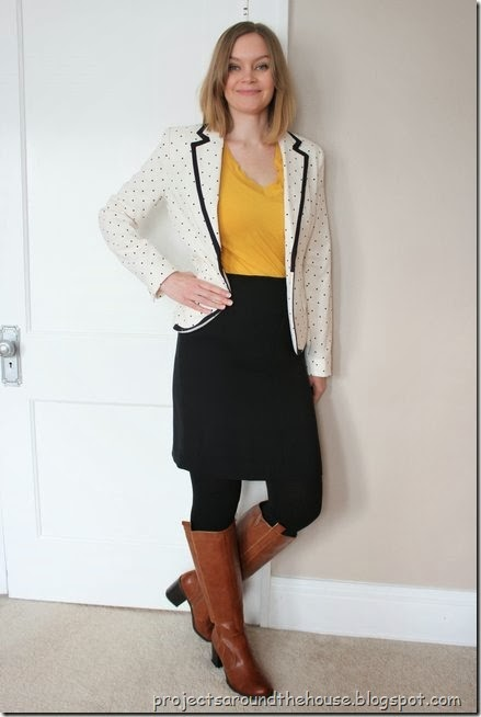 Polka dot blazer with skirt and tall boots