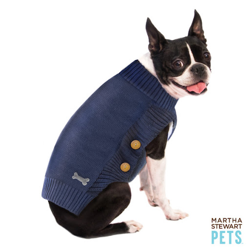This navy barn sweater is adorable. (petsmart.com)