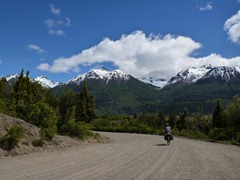 Riding through Parque Nacional Los Alerces, Argentina.