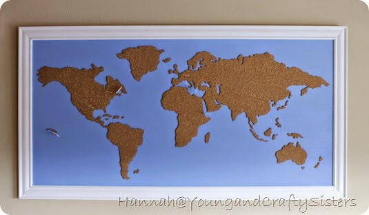 Young and Crafty Sisters DIY Framed Cork Board World Map – Cork Board World Travel Map