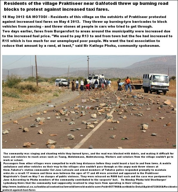 PRAKTISEER GAMOTODI LOWVELD ANTITAXI FARE RISE PROTESTS MAY 4 2012