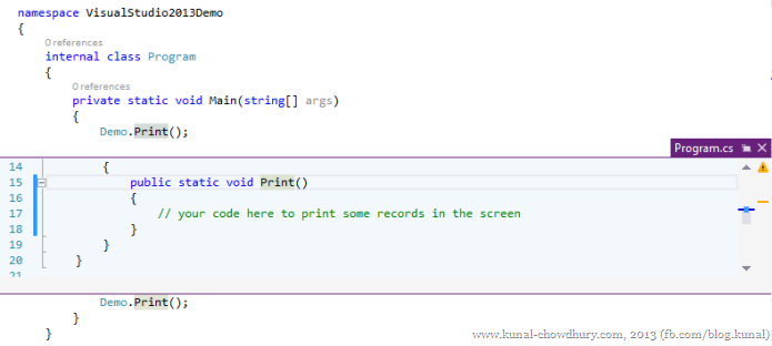 Peek Definition Windows in Visual Studio 2013