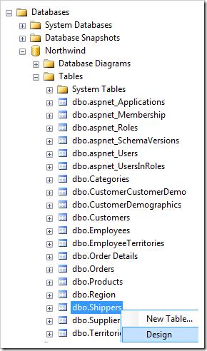 Design Shippers table in Microsoft SQL Server Management Studio