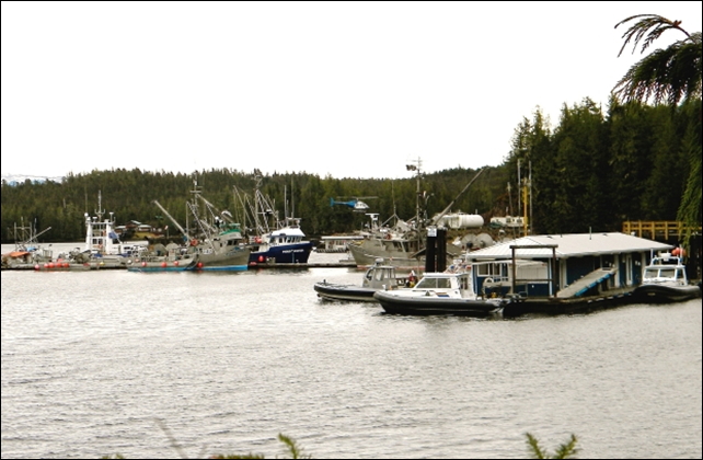 Several RCMP vessels are docked at Shearwater on Denny Island near Bella Bella to guard against any potential interference by Heiltsuk natives protesting a commercial gillnet fishery in local waters, 29 March 2014. Photo: Larry Pynn / Vancouver Sun