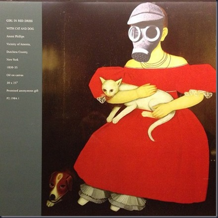 A Girl in Red Dress with Cat and Dog, Updated (Ammi Phillips [1830] & Jilly Ballistic [2013]; 5th Ave 53rd St; MoMA platform)