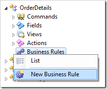 New Business Rule context menu option for OrderDetails controller.