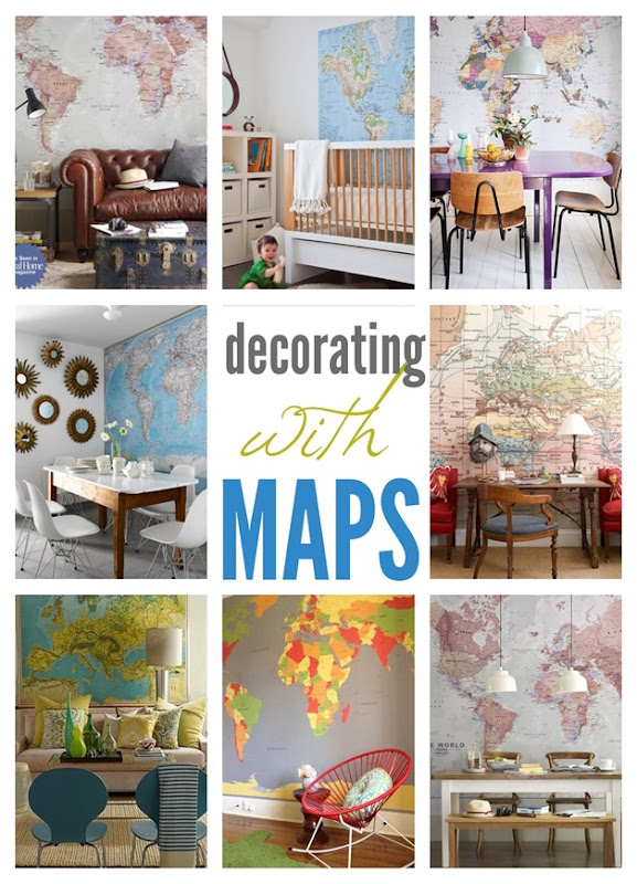 Decorating with giant wall map murals