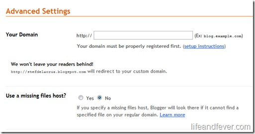 Advanced Settings Custom Domain Blogspot