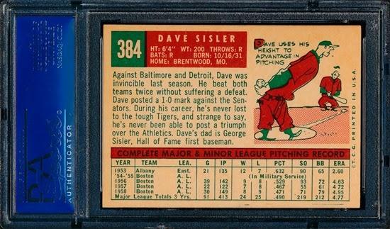 1959 Topps 384 Dave Sisler