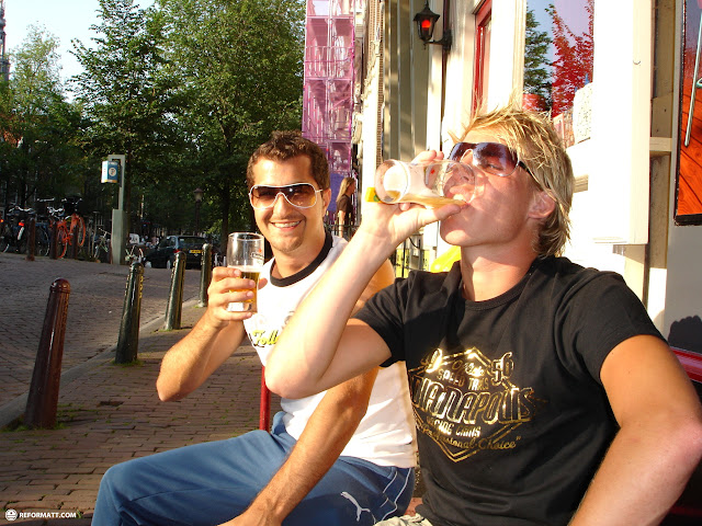 having beers on a beautiful day in downtown amsterdam in Amsterdam, Noord Holland, Netherlands