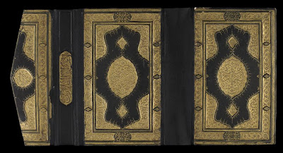 "Book cover | Origin:  Turkey | Period: 17th century  Ottoman period | Details:  An inscription, ""Only the pure may touch it,"" suggests that this fine leather binding was intended for a copy of the Koran, although similar covers were used for secular manuscripts. Gold leaf highlights were created on block stamps, then pressed into the leather to leave a finely sculpted impression. The lavish application of gold leaf underlines the importance of manuscripts, such as the Koran, in the Islamic world. 