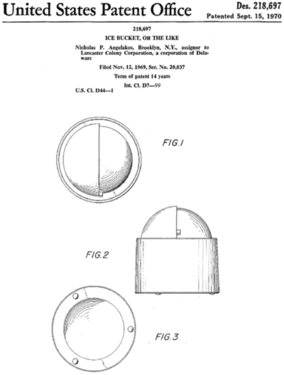 Nicholas Angelakos ice bucket design patent