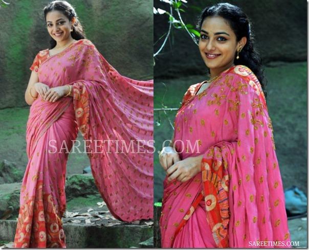Nithya_Menon_Pink_Saree