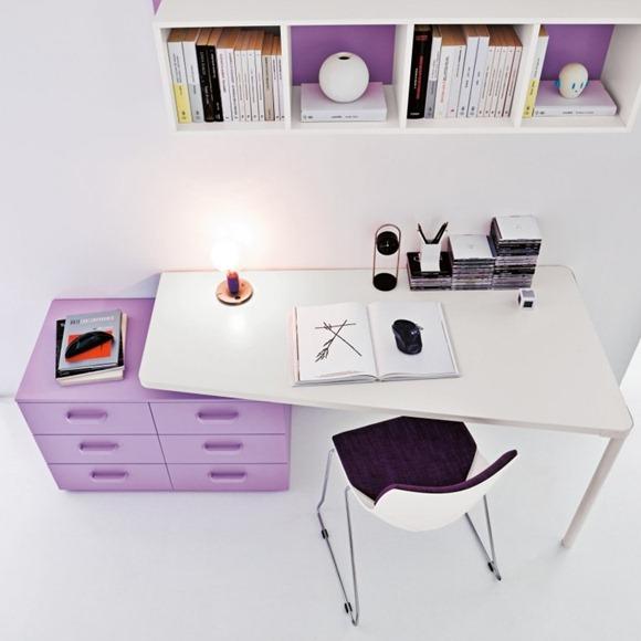 estudio lila y blanco