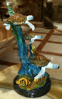 Bronze Statuary, Table-Top 3 Sea Turtles on Reef Sculpture