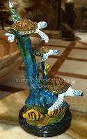Bronze Statuary, Table-Top 3 Sea Turtles on Reef Sculpture