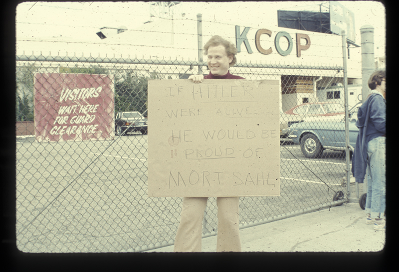 Mort Sahl Show picket at the KCOP studio. March 21, 1975