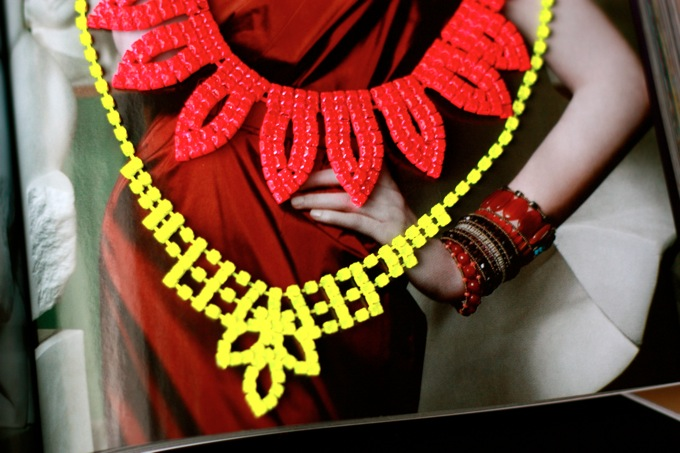 yellow and pink neon, fluo necklace