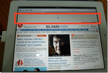 Web del pais.com vista con un iPad: el banner superior no se muestra ni se ofrece una alternativa