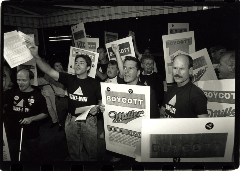 Miller beer boycott demonstration to protest the contribution from the beverage company to U.S. Senator Jesse Helms' re-election campaign. The protest was referred to as the Nightmare on Helms Street, Part III: To Helms and Back. September 22, 1990.