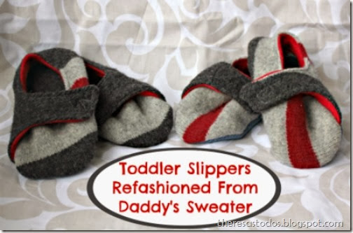 Toddler Slippers Refashioned from Sweater