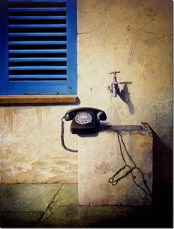 Stilleben mit Telefon und fliessend Wasser-Siegfried Zademarck