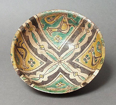 Bowl Iran, Nishapur Bowl, 10th century Ceramic; Vessel, Earthenware, buff slip, underglaze slip-painted, 2 7/8 x 17 1/4 in. (7.30 x 43.82 cm) The Nasli M. Heeramaneck Collection, gift of Joan Palevsky (M.73.5.289) Art of the Middle East: Islamic Department.