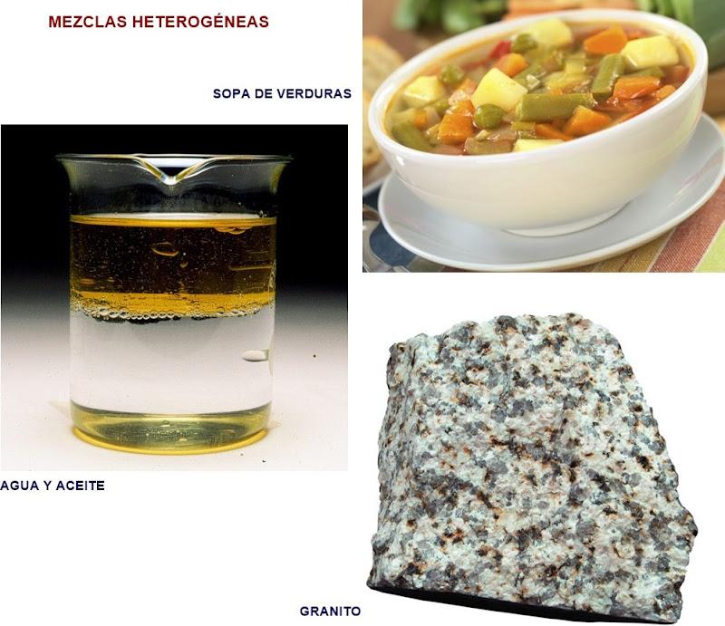 Ejemplos de mezclas heterogeneas