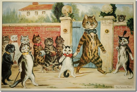 Louis Wain cats walking