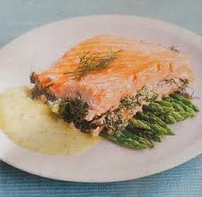 salmon on mayonnaise