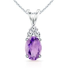 Oval Amethyst and Round Diamond V-Bale Pendant