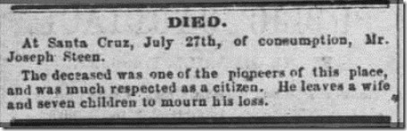 Steen Joseph Obituary Santa Cruz Sentinel 4 Aug 1866