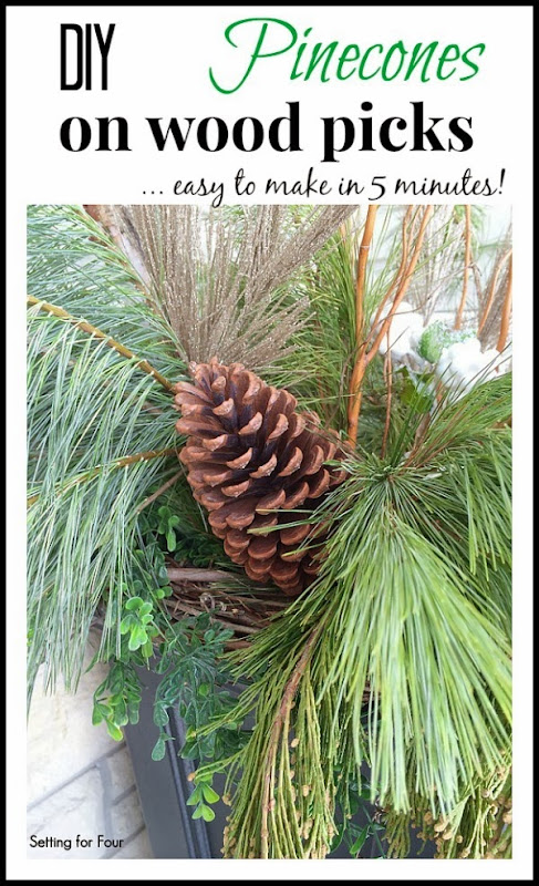 DIY Pinecones on Wood Picks for outdoor urns #diy #decor