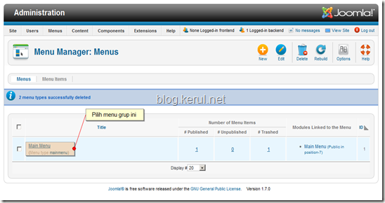 menu Joomla! 1.7 - edit menu grup
