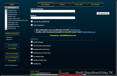 Rapidleech Server v3.45.Stable Release 17-1-2012 -133 Plugins Premium Accounts :fileserve, filesonic With all Options &#8211; Rar/Unrar, Movie Thumbnailer and more..