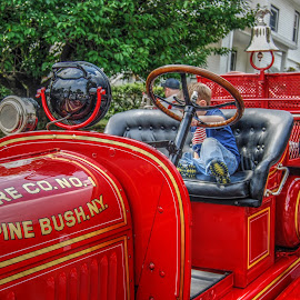 Generations by Guy Harnett - Novices Only Street & Candid ( child, parade, vintage fire engine, fire truck, antique fire truck, truck fire engine, generation, fire department )